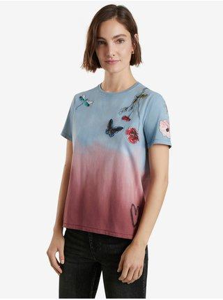 Růžovo-modré dámské tričko Desigual Tojo