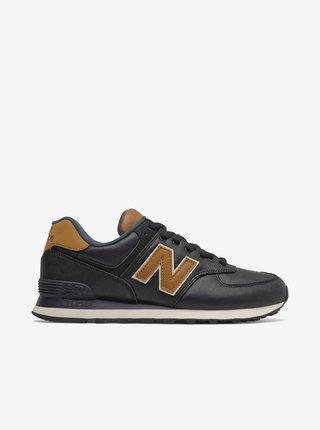Hnedo-čierne pánske kožené topánky New Balance 574