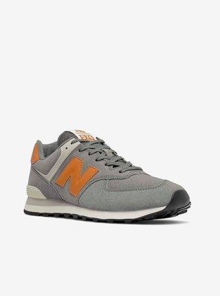 Oranžovo-šedé pánské semišové boty New Balance 574
