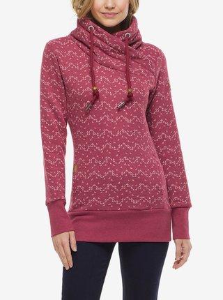 Tmavě růžová dámská vzorovaná mikina s kapucí Ragwear Neska Print