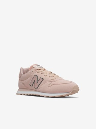 Svetloružové dámske topánky v semišovej úprave New Balance 500