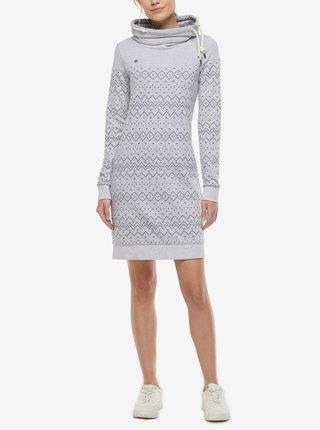 Šedo-biele dámske vzorované mikinové šaty Ragwear Chloe Dress