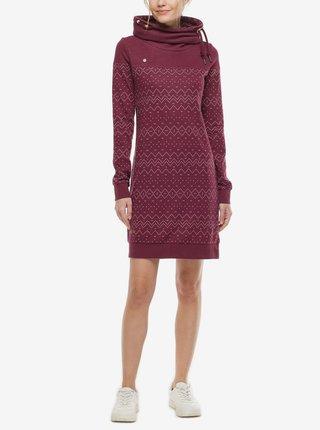 Vínové dámske vzorované mikinové šaty Ragwear Chloe Dress
