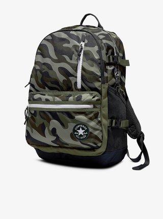 Zelený maskáčový unisex batoh Converse Straight Edge Printed Backpack