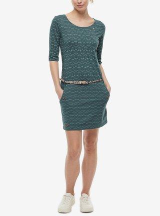 Tmavozelené dámske vzorované šaty Ragwear Tanya Chevron