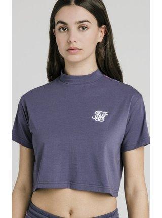 Šedé dámské crop top tričko – Tee Crop Tape Runner Fade SikSilk
