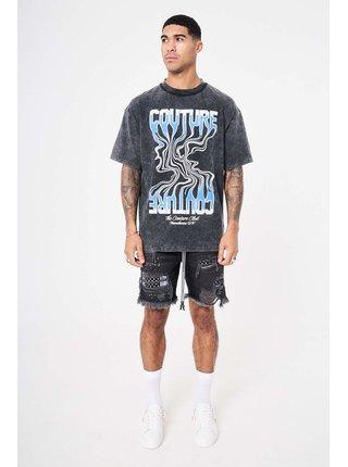 Šedé žíhané tričko T-SHIRT GRAPHIC WAVE