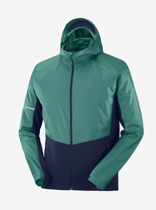 Modro-zelená pánska športová bunda Salomon Agile FZ Hoodie