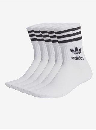 Sada piatich párov čierno-bielych pánskych členkových ponožiek adidas Originals Mid Cut CRW