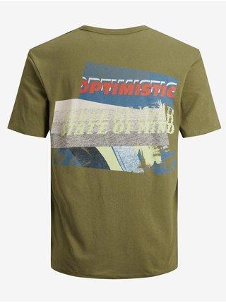 Khaki tričko s potiskem Jack & Jones New Port
