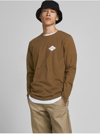 Hnědé tričko s dlouhým rukávem Jack & Jones Archie