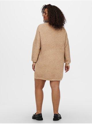 Béžové žebrované svetrové šaty ONLY CARMAKOMA Karia