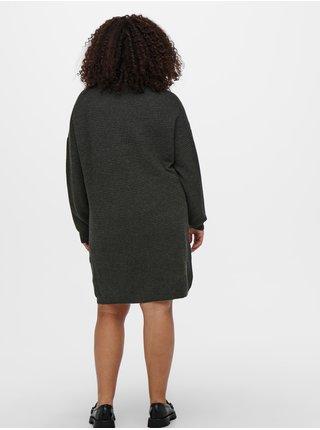 Tmavošedé rebrované svetrové šaty ONLY CARMAKOMA Karia