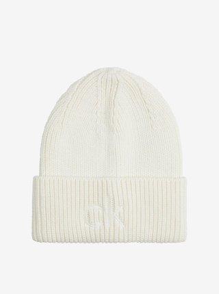 Bílá dámská žebrovaná čepice Calvin Klein