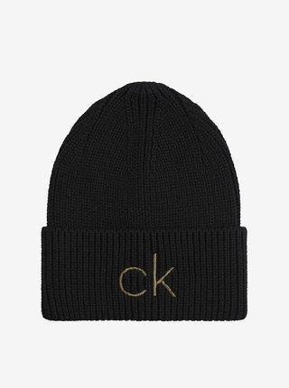 Černá dámská žebrovaná čepice Calvin Klein