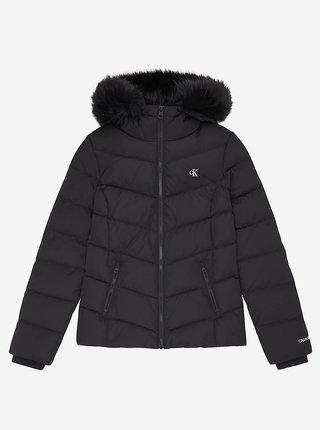 Černá dámská prošívaná zimní bunda s kapucí Calvin Klein