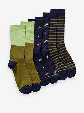 Modro-kaki pánska sada troch párov ponožiek Scotch & Soda