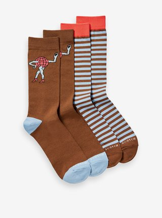 Modro-hnědá pánská sada dvou párů ponožek Scotch & Soda