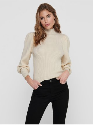 Krémový rebrovaný sveter ONLY Katia