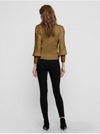 Hnědý žebrovaný svetr ONLY Katia