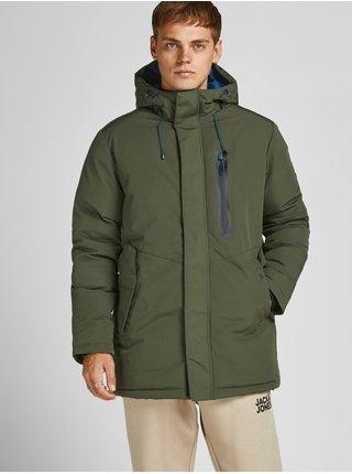 Tmavozelená zimná bunda s kapucou Jack & Jones Caspar