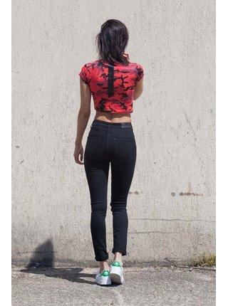 Červené dámské crop top tričko Red Camo June Sixth Tričko