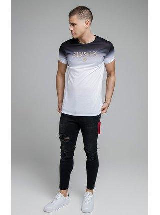 Černo-bílé pánské tričko TEE GYM EMBROIDERY FADE HIGH S/S