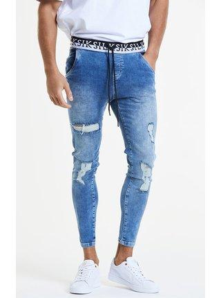 Modré pánské slim fit džíny DENIM ELASTICATED DISTRESSED