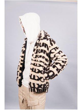 Béžová pánská vzorovaná bunda JACKET SHERPA PRINTED