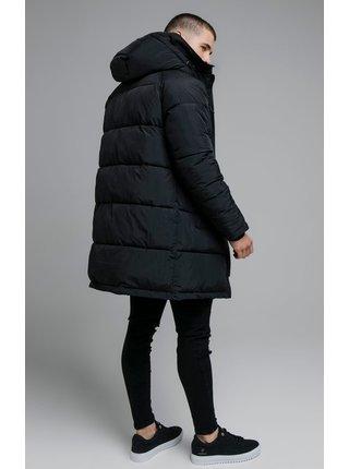 Černá pánská prošívaná bunda s kapucí PARKA ELONGATED