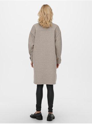 Béžová dlouhá košilová bunda ONLY Eleaine