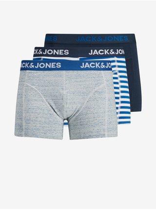 Sada troch boxeriek v šedej a modrej farbe Jack & Jones Amersfoort