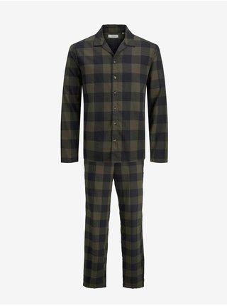 Zeleno-čierne kockované pyžamo Jack & Jones Leo