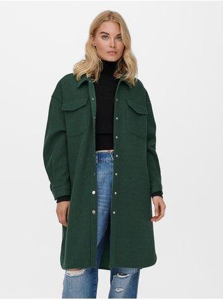 Tmavě zelená dlouhá košilová bunda ONLY Eleaine