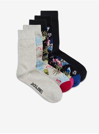 Sada pěti párů vzorovaných ponožek v šedé a černé barvě Jack & Jones Flower Bird