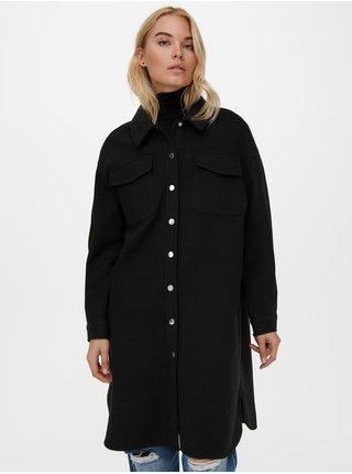 Černá dlouhá košilová bunda ONLY Eleaine