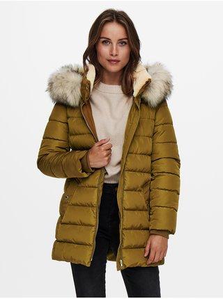 Hořčicový prošívaný kabát s umělým kožíškem ONLY Camilla