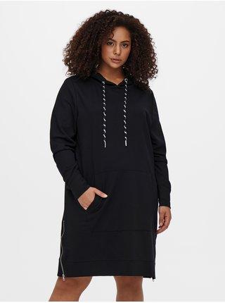 Černé mikinové šaty s kapucí ONLY CARMAKOMA Kally