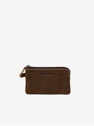 Tmahnedá pánska kožená peňaženka na kľúče Bruno Banani