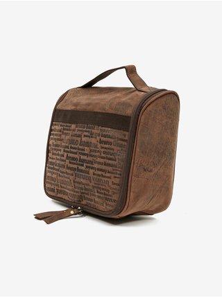 Hnedá pánska kožená vzorovaná toaletná taška na zavesenie Bruno Banani
