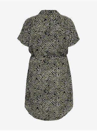 Khaki vzorované košilové šaty ONLY CARMAKOMA Luxcille