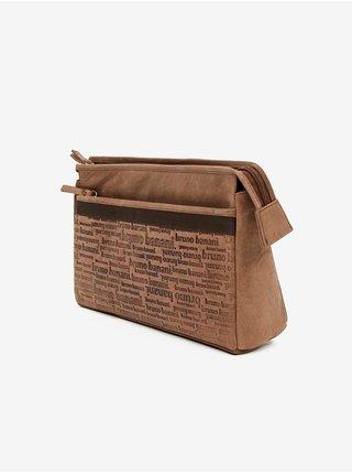 Hnedá pánska kožená vzorovaná toaletná taška Bruno Banani