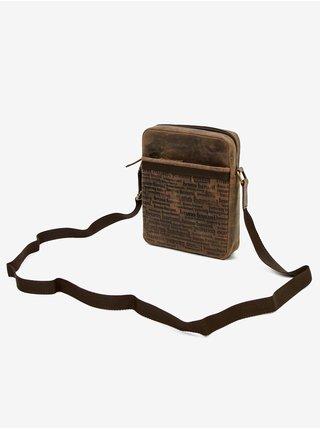 Hnědá pánská kožená vzorovaná crossbody taška Bruno Banani