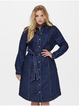 Tmavě modré džínové košilové šaty ONLY CARMAKOMA Cila