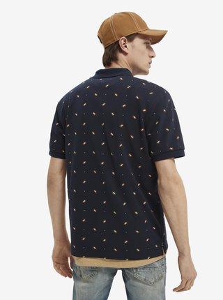 Tmavomodré pánske vzorované tričko Scotch & Soda