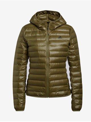 Khaki dámská prošívaná zimní bunda s kapucí adidas Performance W Varilite Ho J