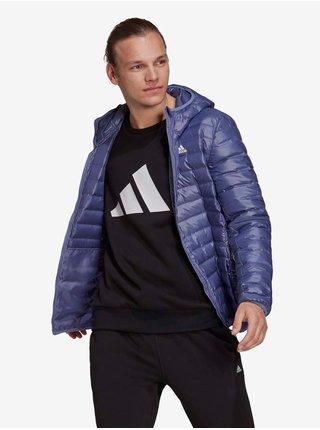 Tmavě modrá pánská prošívaná zimní bunda s kapucí adidas Performance Varilite Ho Jkt