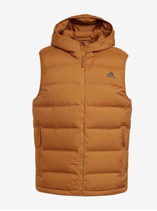 Svetlohnedá pánska prešívaná vesta s kapucou adidas Performance Helionic Vest