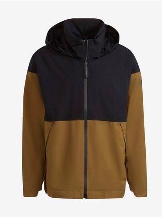 Hnědo-černá pánská lehká bunda s kapucí adidas Performance Urban Rain.rdy