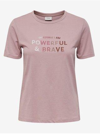 Světle růžové tričko s nápisem Jacqueline de Yong Gus